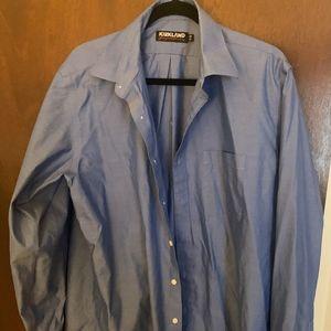 Men's NO IRON Blue Long sleeved Dress shirt